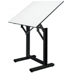 "Alvin® Ensign Table Black Base White Top 36"" x 48""; Angle Adjustment Range: 0 - 90; Base Color: Black/Gray; Base Material: Steel; Height Range: 37"" - 47""; Top Color: White/Ivory; Top Material: Melamine; Top Size: 36"" x 48""; (model EN48-3), price per each"