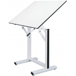 "Alvin® Ensign Table White Base White Top 31"" x 42""; Angle Adjustment Range: 0 - 90; Base Color: White/Ivory; Base Material: Steel; Height Range: 37"" - 47""; Top Color: White/Ivory; Top Material: Melamine; Top Size: 31"" x 42""; (model EN42-4), price per each"