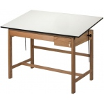 "Alvin® Titan II Solid Oak White Top Drafting Table 2 Drawers 37 1/2"" x 60"": 0 - 45, Brown, Oak, 37 1/2"", White/Ivory, Melamine, 37 1/2"" x 60"", (model WLB60), price per each"