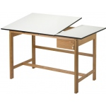 "Alvin® Titan II Split Top Solid Oak White Top Drafting Table; Angle Adjustment Range: 0 - 30; Base Color: Brown; Base Material: Oak; Height: 36""; Top Color: White/Ivory; Top Material: Melamine; Top Size: 37 1/2"" x 60""; (model WSB60), price per each"