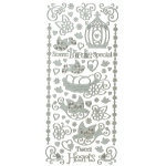 "Dazzles™ Stickers Silver Tweat Heart: Metallic, 4"" x 9"", Outline, (model HOTP1620), price per each"