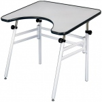 "Alvin® Reflex Table: 0 - 45, White/Ivory, Steel, 24"" - 44"", White/Ivory, Melamine, 30"" x 40"", (model REFLEX), price per each"