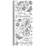 "Dazzles™ Stickers Silver Sympathy: Metallic, 4"" x 9"", Outline, (model HOTP2118), price per each"