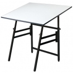 "Alvin® Professional Table Black Base White Top 31"" x 42"": 0 - 45, Black/Gray, Steel, 29"" - 45"", White/Ivory, Melamine, 31"" x 42"", (model MODEL XI-3-XB), price per each"