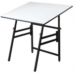"Alvin® Professional Table Black Base White Top 36"" x 48""; Angle Adjustment Range: 0 - 45; Base Color: Black/Gray; Base Material: Steel; Height Range: 29"" - 45""; Top Color: White/Ivory; Top Material: Melamine; Top Size: 36"" x 48""; (model MODEL XII-3-XB), price per each"