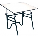 "Alvin® Opal Table Black Base White 31"" x 42"": 0 - 45, Black/Gray, Steel, 29"" - 44"", White/Ivory, Melamine, 31"" x 42"", (model OP42-3), price per each"