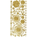 "Dazzles™ Stickers Gold Aqua Lily: Metallic, 4"" x 9"", Outline, (model HOTP2066), price per each"