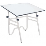"Alvin® Opal Table White Base White Top 31"" x 42"": 0 - 45, White/Ivory, Steel, 29"" - 44"", White/Ivory, Melamine, 31"" x 42"", (model OP42-4), price per each"