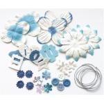 Blue Hills Studio™ Irene's Garden™ Potpourri Paper Flower & Embellishment Pack Blues: Blue, Paper, 20 mm, 30 mm, 50 mm - 52 mm, Dimensional, (model BHS37), price per pack
