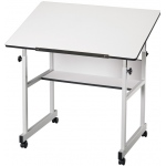 "Alvin® MiniMaster™ Table Gray Base with White Top: 0 - 30, Black/Gray, Steel, 27"" - 40"", White/Ivory, 24"" x 36"", (model MM36-5), price per each"