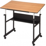 "Alvin® MiniMaster™ II Table Black Base with Woodgrain Top: 0 - 30, Black/Gray, Steel, 29"" - 41"", Brown, 24"" x 40"", (model MM40-3-WBR), price per each"