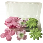 "Flower Pack Pink/Hot Pink/Lime; Color: Multi; Material: Paper; Size: 2""+; Type: Dimensional; (model BHS107510), price per pack"