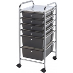 "Blue Hills Studio™ Storage Cart 6-Drawer (Standard and Deep) Smoke; Color: Black/Gray; Drawer Size: 13 3/4""l x 9 3/4""w x 5""h, 13 5/8""l x 9 5/8""w x 5/8""h; Material: Plastic; Quantity: 6-Drawer; Size: 15""d x 11 1/4""w x 32""h; (model SC6SM), price per each"