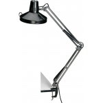 "Alvin® Black Swing-Arm Combination Lamp with CFL Bulb; Color: Black/Gray; Shade Size: 10"" & Up; Style: Swing-Arm; Wattage: 26-75w, 8-25w; (model CLCFL1755-B), price per each"