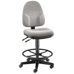 "Alvin® Medium Gray High Back Drafting Height Monarch Chair: No, Black/Gray, Foot Ring Included, 24"" - 29"", 30"" & Up, Fabric, (model CH555-60DH), price per each"