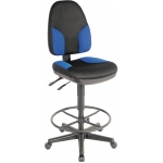 "Alvin® Black & Blue High Back Drafting Height Monarch Chair: No, Black/Gray, Blue, Foot Ring Included, 24"" - 29"", 30"" & Up, Fabric, (model CH555-85DH), price per each"