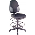 "Alvin® Black High Back Drafting Height Monarch Chair with Leather Accents: No, Black/Gray, No, 24"" - 29"", 30"" & Up, Fabric, Leather, (model CH555-95DH), price per each"