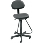 "Alvin® Black Economy Drafting Height Chair: No, Black/Gray, Foot Ring Included, 24"" - 29"", Under 24"", Fabric, (model DC204), price per each"