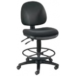 "Alvin® Prestige Artist/Drafting Chairs 21"" Black Foot Ring: No, Black/Gray, Foot Ring Included, 24"" - 29"", 30"" & Up, Fabric, (model DC310-40B), price per each"