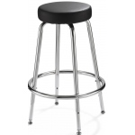 "Alvin® Spacesaver Stool: No, Black/Gray, Foot Ring Included, 24"" - 29"", 30"" & Up, Vinyl, (model SSAS), price per each"