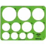 "Alvin® Large Circles Template: 1 1/2"" - 3 1/2"", (model TD1201), price per each"