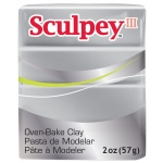 Sculpey® III Polymer Clay Silver: Metallic, Bar, Polymer, 2 oz, (model S3021130), price per each