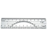 "Westcott® C-Thru® 6"" Protractor Ruler 10 and 20 Parts To The Inch: Clear, Plastic, 6"", Ruler, (model W38), price per each"