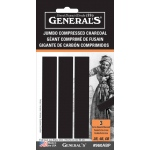 General's® Jumbo Compressed Charcoal Sticks: Black/Gray, Extra Soft, Medium, Soft, Stick, Compressed, (model 960ABP), price per pack