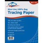 "Alvin® Alva-Line 100 % Rag Tracing Paper 50-Sheet Pad 8 1/2 x 11; Format: Pad; Quantity: 50 Sheets; Size: 8 1/2"" x 11""; Type: Tracing; Weight: 16 lb; (model 6855/P-1), price per 50 Sheets pad"