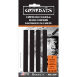 General's® Compressed Charcoal Sticks; Color: Black/Gray; Degree: Soft; Format: Stick; Type: Compressed; (model 957ABP), price per pack