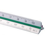 "Alvin® 30 Series 4"" Mini Aluminum Engineer Triangular Scale: White/Ivory, Aluminum, 4"", Engineer, (model 31ATS), price per each"