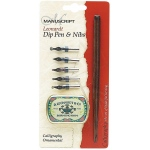 Manuscript Leonardt Dip Pen & Nibs Calligraphy Ornamental Set; Nibs Included: Yes; Tip Size: 1mm, 2mm, 3mm, 4mm, 5mm; Type: Calligraphy; (model MDP2096), price per set