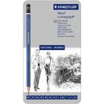 Lumograph® Drawing Pencil 12-Pack; Color: Black/Gray; Type: Drawing; (model 100-G12S), price per set