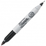 Sharpie® Twin Tip Black Permanent Marker; Color: Black/Gray; Double-Ended: Yes; Tip Type: Fine Nib; (model SN32001), price per each