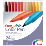Pentel® Color Pen® Marker 24-Color Set: Multi, Water-Based, Fine Nib, (model S360-24), price per set