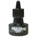 Higgins® Waterproof Color Drawing Ink Green: Green, Bottle, Dye-Based, 1 oz, Waterproof, (model SN44110), price per each