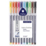 Staedtler® Triplus® Fineliner Pen 10-Color Set; Color: Multi; Ink Type: Dye-Based; Tip Size: .3mm; Tip Type: Fine Nib; (model 334SB10), price per set
