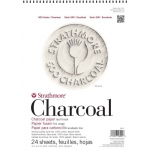 "Strathmore 500 Series Charcoal Paper: Wire Bound, White, 12"" x 18"", Pad of 24 Sheets"