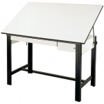 "Alvin® DesignMaster Table Black Base White Top 2 Drawers 37.5"" x 60""; Angle Adjustment Range: 0 - 45; Base Color: Black/Gray; Base Material: Steel; Height: 37""; Top Color: White/Ivory; Top Material: Melamine; Top Size: 37 1/2"" x 60""; (model DM60CT-BK), price per each"