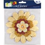 """Blue Hills Studio™ ColorStories™ Handmade Paper Stacked Flowers Yellow; Color: Yellow; Material: Paper; Size: 6""""; Type: Dimensional; (model BHS10209), price per each"""