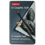 Derwent Graphic 12-Pencil Tin Set Soft: Black/Gray, Drawing, (model 34215), price per set