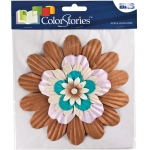 """Blue Hills Studio™ ColorStories™ Handmade Paper Stacked Flowers Brown; Color: Brown; Material: Paper; Size: 6""""; Type: Dimensional; (model BHS10609), price per each"""